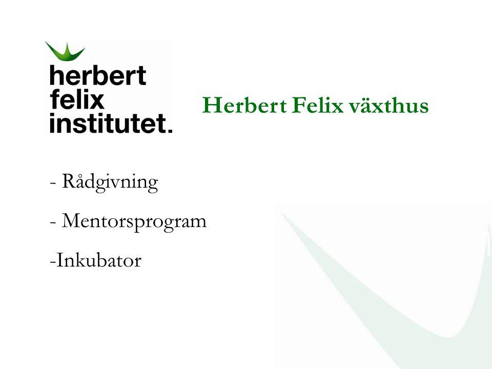 Herbert Felix växthus - Rådgivning - Mentorsprogram -Inkubator