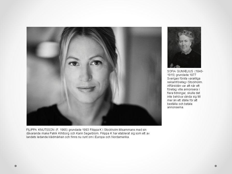 FILIPPA KNUTSSON (F. 1965) grundade 1993 Filippa K i Stockholm tillsammans med sin dåvarande make Patrik Kihlborg och Karin Segerblom. Filippa K har e
