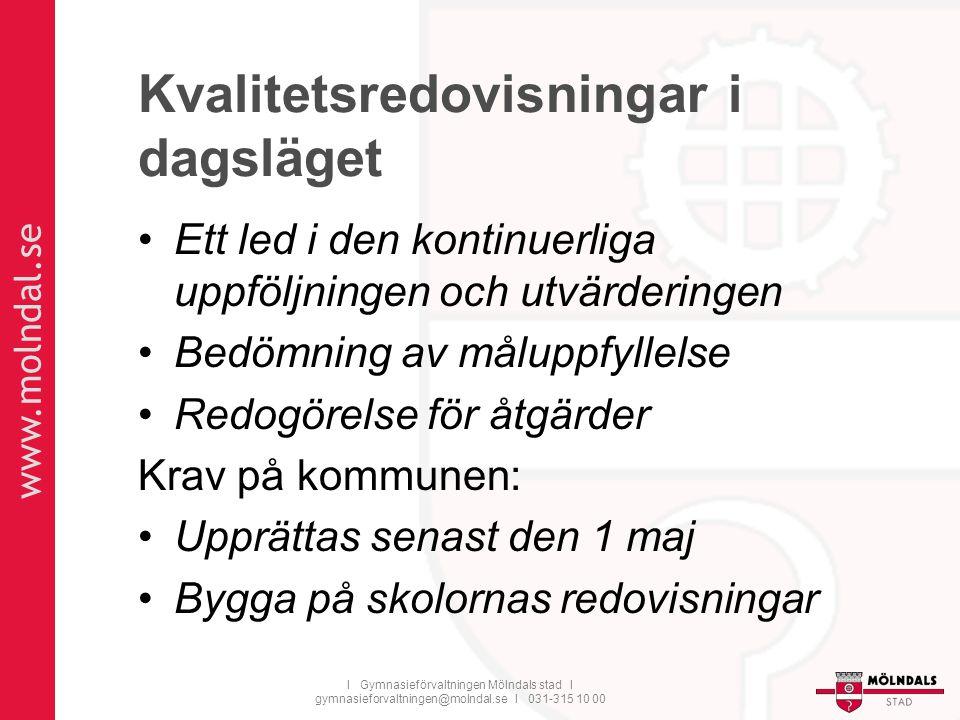 www.molndal.se I Gymnasieförvaltningen Mölndals stad I gymnasieforvaltningen@molndal.se I 031-315 10 00 Kvalitetsredovisningar i dagsläget Ett led i d