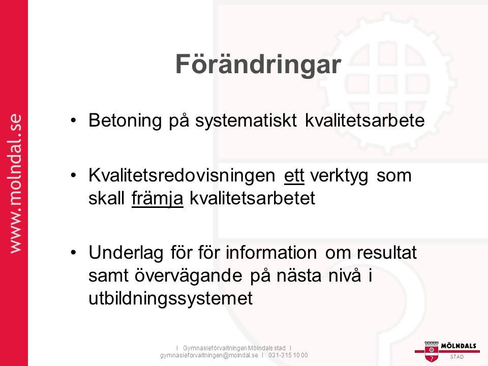 www.molndal.se I Gymnasieförvaltningen Mölndals stad I gymnasieforvaltningen@molndal.se I 031-315 10 00 Förändringar Betoning på systematiskt kvalitet