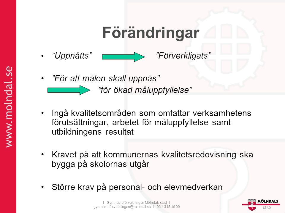 """www.molndal.se I Gymnasieförvaltningen Mölndals stad I gymnasieforvaltningen@molndal.se I 031-315 10 00 Förändringar """" Uppnåtts"""" """"Förverkligats"""" """"För"""