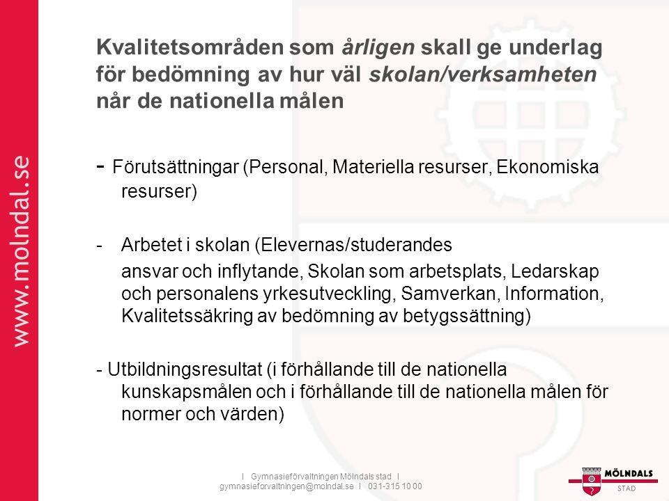 www.molndal.se I Gymnasieförvaltningen Mölndals stad I gymnasieforvaltningen@molndal.se I 031-315 10 00 Kvalitetsområden som årligen skall ge underlag