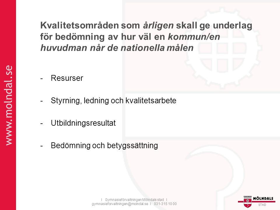 www.molndal.se I Gymnasieförvaltningen Mölndals stad I gymnasieforvaltningen@molndal.se I 031-315 10 00 Kvalitetsområden som årligen skall ge underlag för bedömning av hur väl en kommun/en huvudman når de nationella målen -Resurser -Styrning, ledning och kvalitetsarbete -Utbildningsresultat -Bedömning och betygssättning