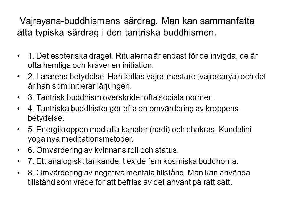 Vajrayana-buddhismens särdrag. Man kan sammanfatta åtta typiska särdrag i den tantriska buddhismen. 1. Det esoteriska draget. Ritualerna är endast för