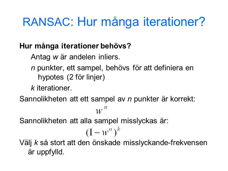 RANSAC : Hur många iterationer. Hur många iterationer behövs.