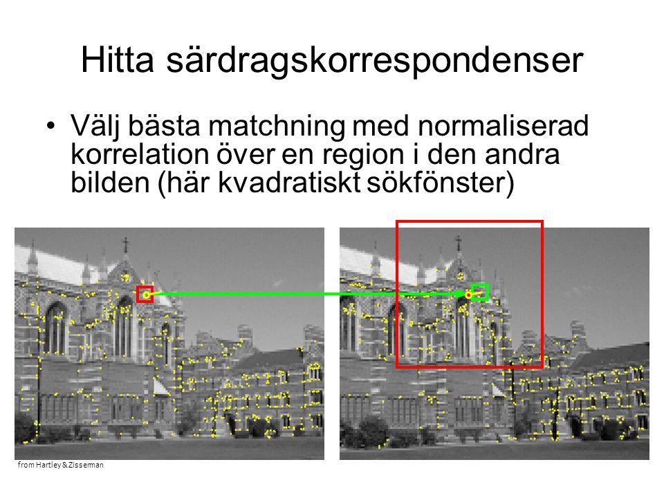 Hitta särdragskorrespondenser Välj bästa matchning med normaliserad korrelation över en region i den andra bilden (här kvadratiskt sökfönster) from Hartley & Zisserman