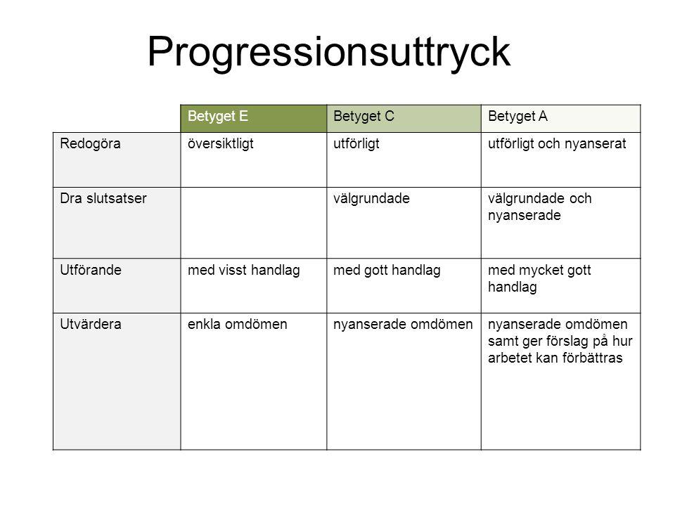Progressionsuttryck Betyget EBetyget CBetyget A Redogöraöversiktligtutförligtutförligt och nyanserat Dra slutsatser välgrundadevälgrundade och nyanser