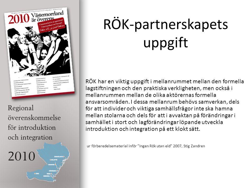 RÖK-partnerskapets uppgift RÖK har en viktig uppgift i mellanrummet mellan den formella lagstiftningen och den praktiska verkligheten, men också i mellanrummen mellan de olika aktörernas formella ansvarsområden.