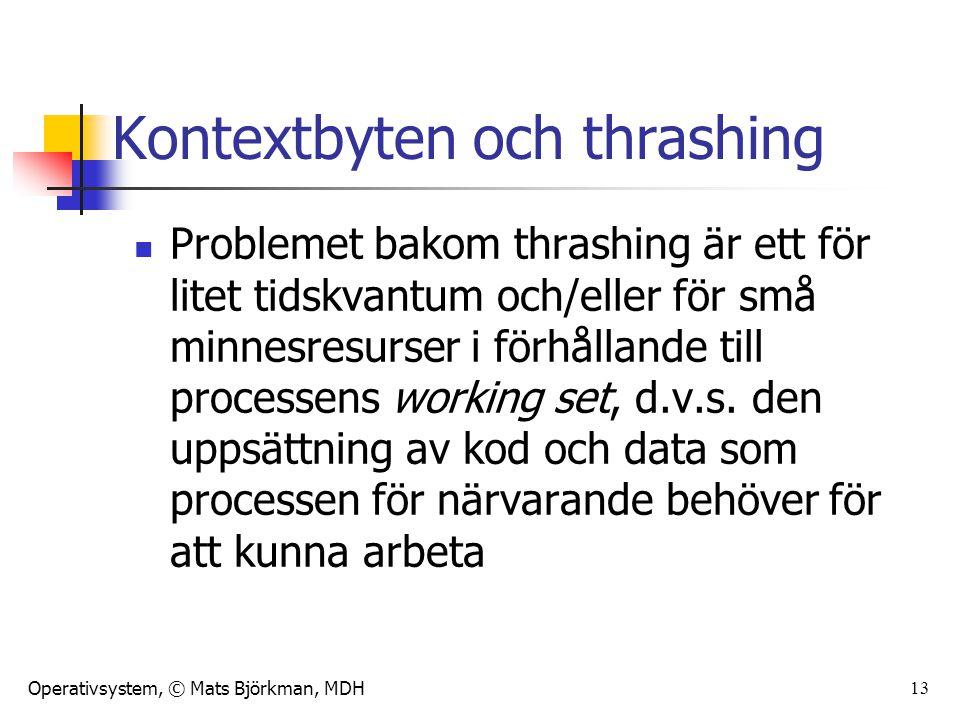 Operativsystem, © Mats Björkman, MDH 13 Kontextbyten och thrashing Problemet bakom thrashing är ett för litet tidskvantum och/eller för små minnesresu