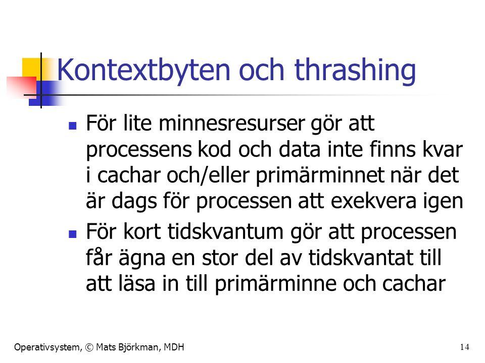 Operativsystem, © Mats Björkman, MDH 14 Kontextbyten och thrashing För lite minnesresurser gör att processens kod och data inte finns kvar i cachar oc