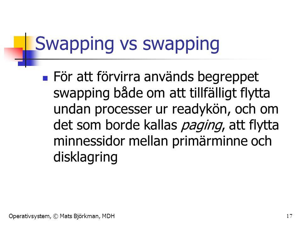 Operativsystem, © Mats Björkman, MDH 17 Swapping vs swapping För att förvirra används begreppet swapping både om att tillfälligt flytta undan processe