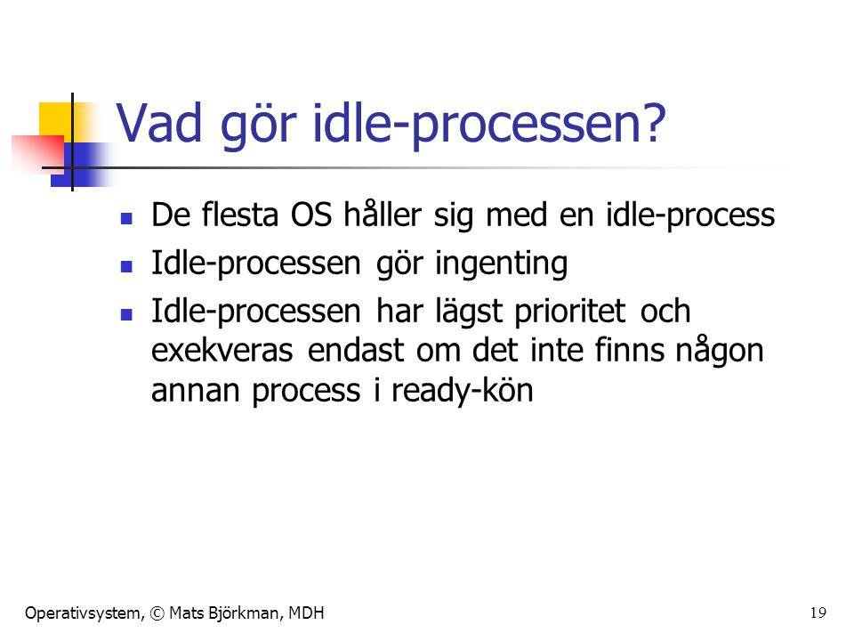 Operativsystem, © Mats Björkman, MDH 19 Vad gör idle-processen? De flesta OS håller sig med en idle-process Idle-processen gör ingenting Idle-processe