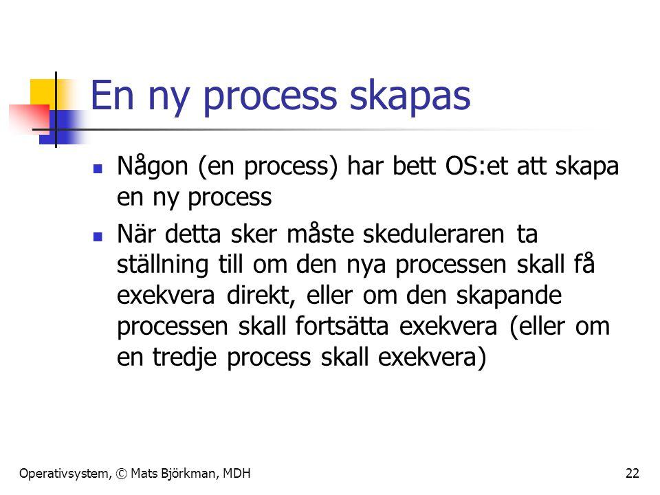 Operativsystem, © Mats Björkman, MDH 22 En ny process skapas Någon (en process) har bett OS:et att skapa en ny process När detta sker måste skedulerar