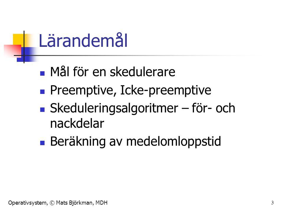 Operativsystem, © Mats Björkman, MDH 4 Skedulering och kontextbyte 1.