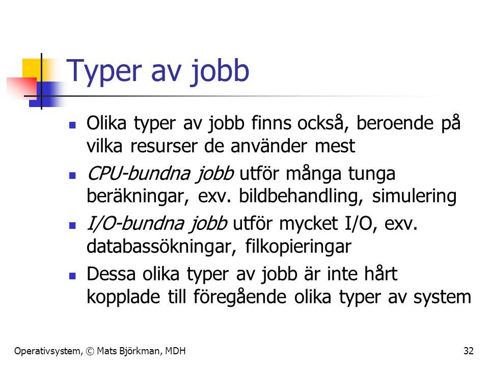 Operativsystem, © Mats Björkman, MDH 32 Typer av jobb Olika typer av jobb finns också, beroende på vilka resurser de använder mest CPU-bundna jobb utf