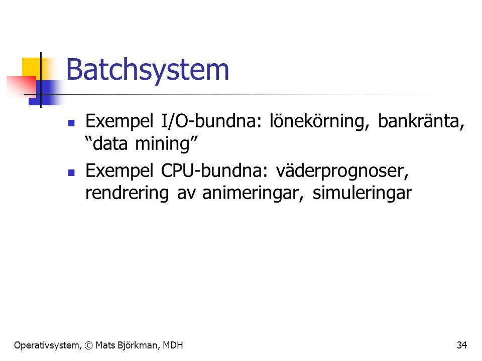 """Operativsystem, © Mats Björkman, MDH 34 Batchsystem Exempel I/O-bundna: lönekörning, bankränta, """"data mining"""" Exempel CPU-bundna: väderprognoser, rend"""