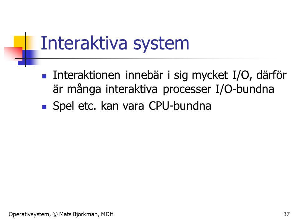 Operativsystem, © Mats Björkman, MDH 37 Interaktiva system Interaktionen innebär i sig mycket I/O, därför är många interaktiva processer I/O-bundna Sp