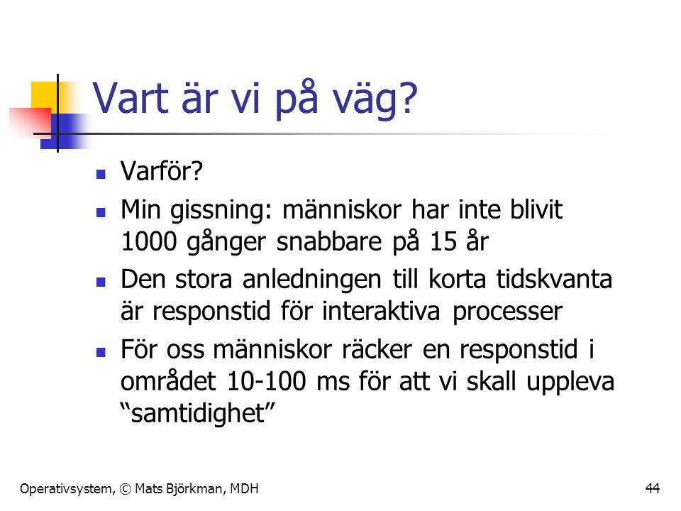Operativsystem, © Mats Björkman, MDH 44 Vart är vi på väg? Varför? Min gissning: människor har inte blivit 1000 gånger snabbare på 15 år Den stora anl