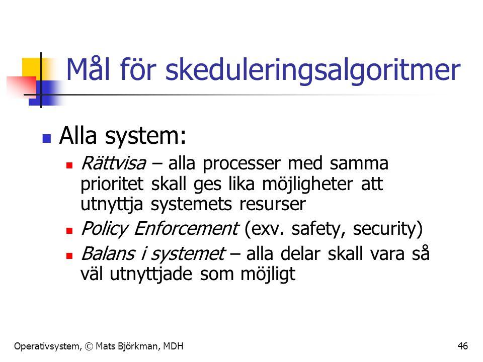 Operativsystem, © Mats Björkman, MDH 46 Mål för skeduleringsalgoritmer Alla system: Rättvisa – alla processer med samma prioritet skall ges lika möjli