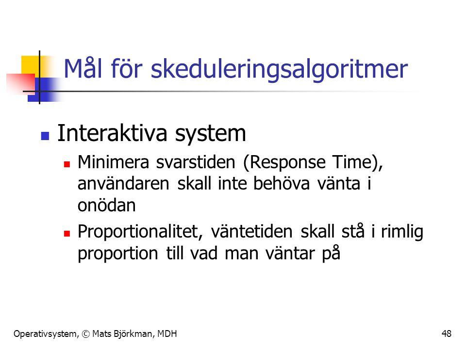 Operativsystem, © Mats Björkman, MDH 48 Mål för skeduleringsalgoritmer Interaktiva system Minimera svarstiden (Response Time), användaren skall inte b