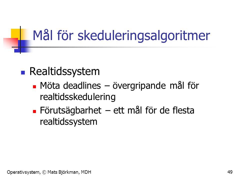 Operativsystem, © Mats Björkman, MDH 49 Mål för skeduleringsalgoritmer Realtidssystem Möta deadlines – övergripande mål för realtidsskedulering Föruts