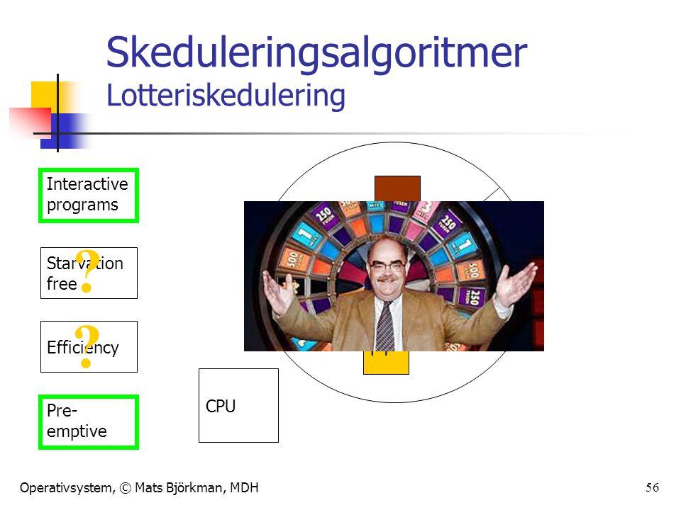 Operativsystem, © Mats Björkman, MDH 56 Skeduleringsalgoritmer Lotteriskedulering Interactive programs Starvation free Efficiency Pre- emptive P1 P2 P