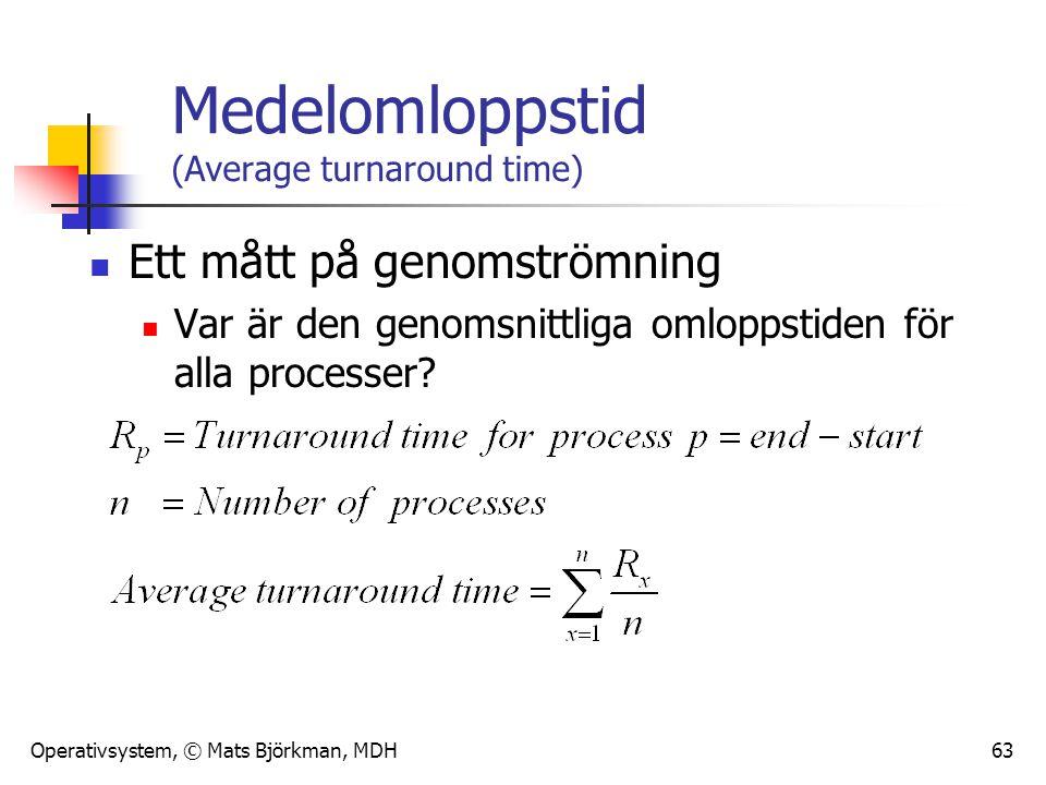 Operativsystem, © Mats Björkman, MDH 63 Medelomloppstid (Average turnaround time) Ett mått på genomströmning Var är den genomsnittliga omloppstiden fö