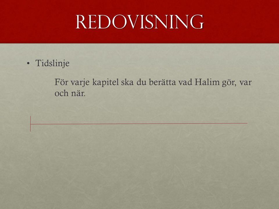Redovisning TidslinjeTidslinje För varje kapitel ska du berätta vad Halim gör, var och när.