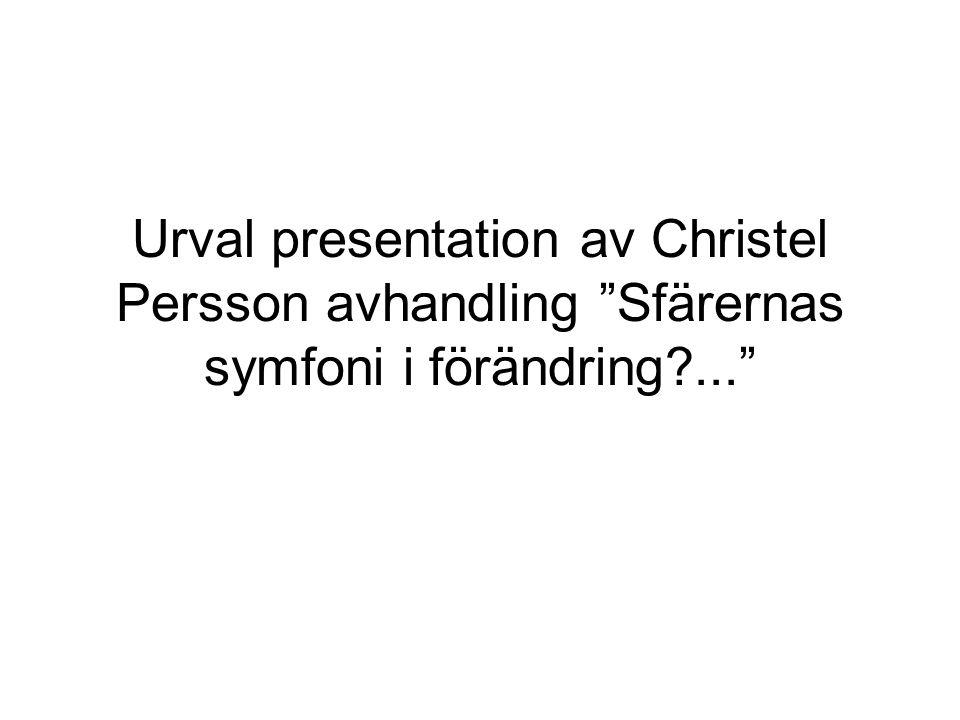 """Urval presentation av Christel Persson avhandling """"Sfärernas symfoni i förändring?..."""""""