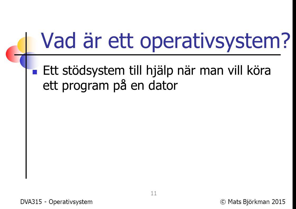 © Mats Björkman 2015DVA315 - Operativsystem Vad är ett program.