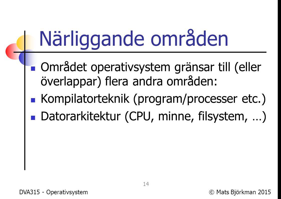 © Mats Björkman 2015DVA315 - Operativsystem Kompilatorteknik på 1 bild 15 Process Källkod Bibliotek Kompilator Runtime- system Objektkod Runtime- bibliotek