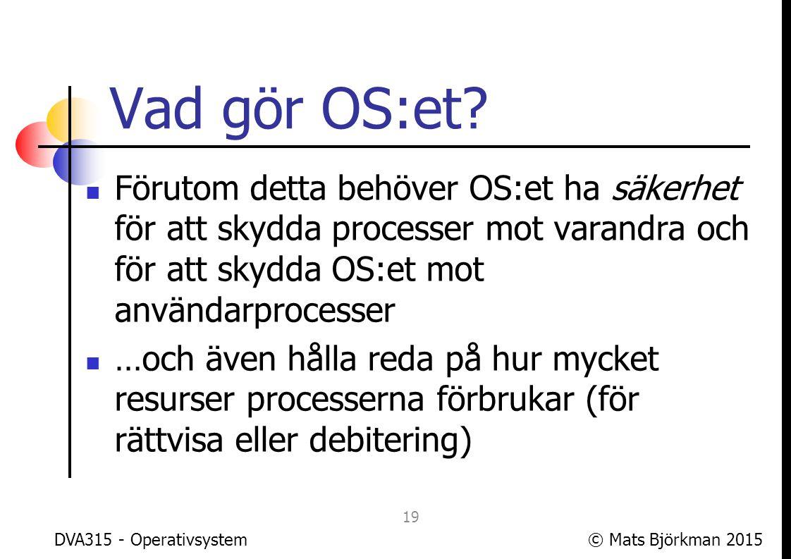 © Mats Björkman 2015DVA315 - Operativsystem Vad är ett operativsystem.