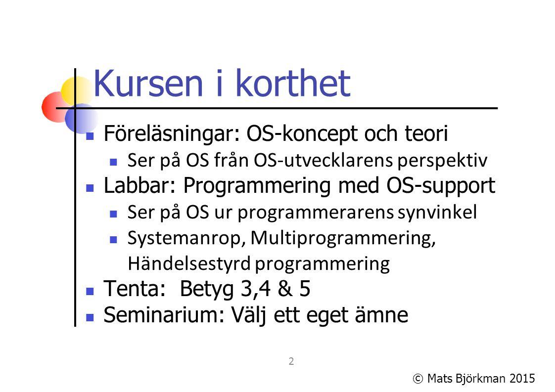 © Mats Björkman 2015 Laborationerna/uppgifterna 3 uppgifter (som kommer att ta tid!) Lab 1: Win32 API-programmering, trådar, synkronisering och kommunikation.