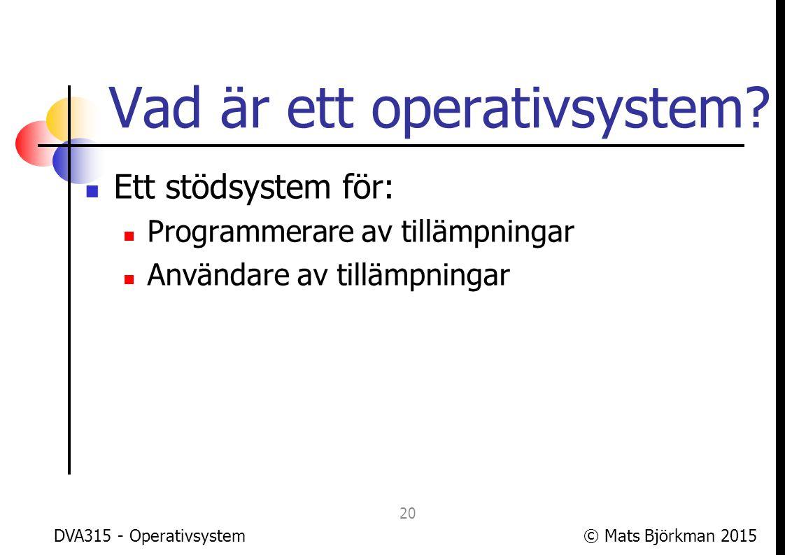 © Mats Björkman 2015 Två huvudsyften med OS 1: Förenkla programmering av tillämpningar genom att tillhandahålla avancerat stöd för ofta efterfrågade funktioner och för att ge enhetliga gränssnitt mot hårdvara DVA315 - Operativsystem 21