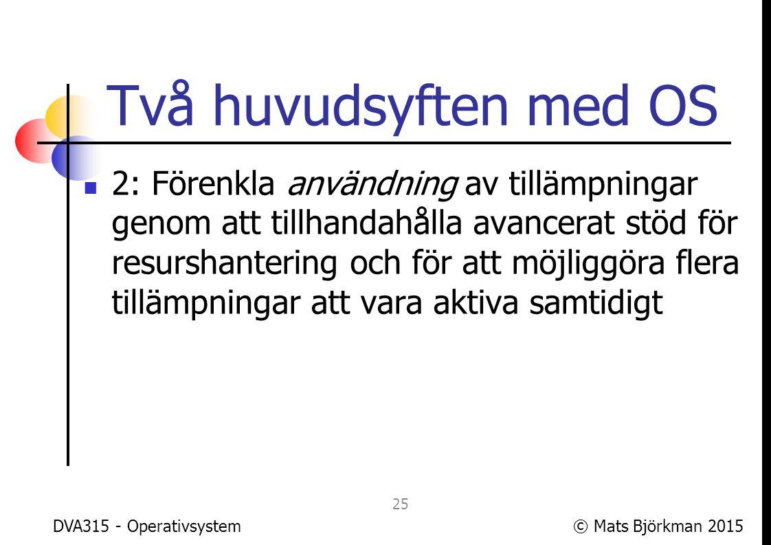© Mats Björkman 2015 Förenkla användning Exempel: Processhantering.