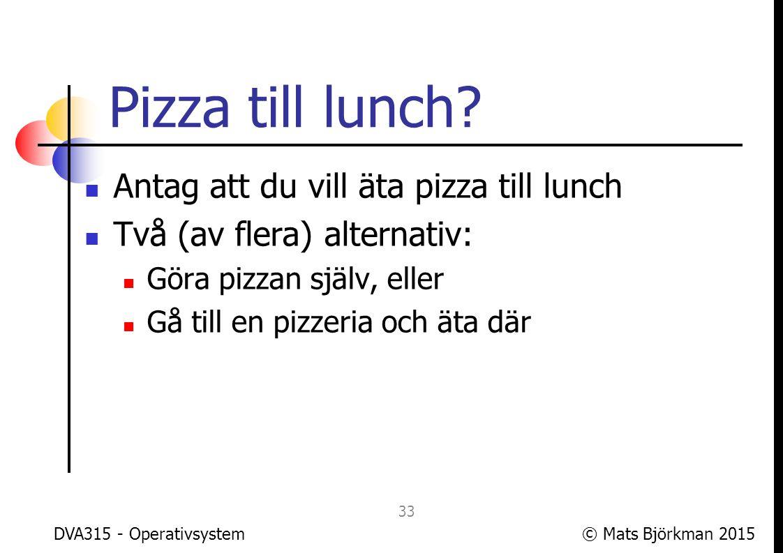 © Mats Björkman 2015 Pizza till lunch.