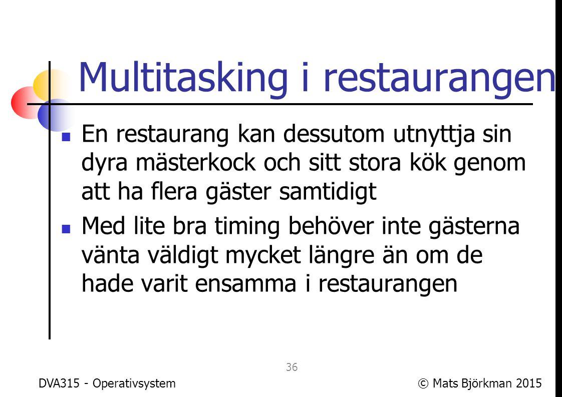© Mats Björkman 2015 Multitasking i datorn OS:et gör precis samma sak, det hanterar flera processer samtidigt men försöker få det att se ut som om varje process var ensam på datorn och hade alla resurser för sig själv DVA315 - Operativsystem 37