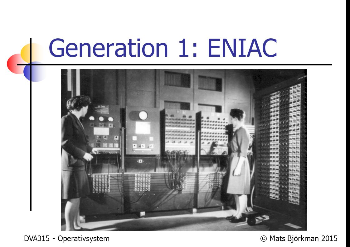 © Mats Björkman 2015 Generation 2: Kompilatorer, bibliotek och batchsystem Under 1950-talet kom kompilatorer för att man skulle slippa skriva alla program i maskinkod En styrka med kompilatorer är att man kan använda sig av biblioteksrutiner, så att man slipper skriva all kod själv DVA315 - Operativsystem 43