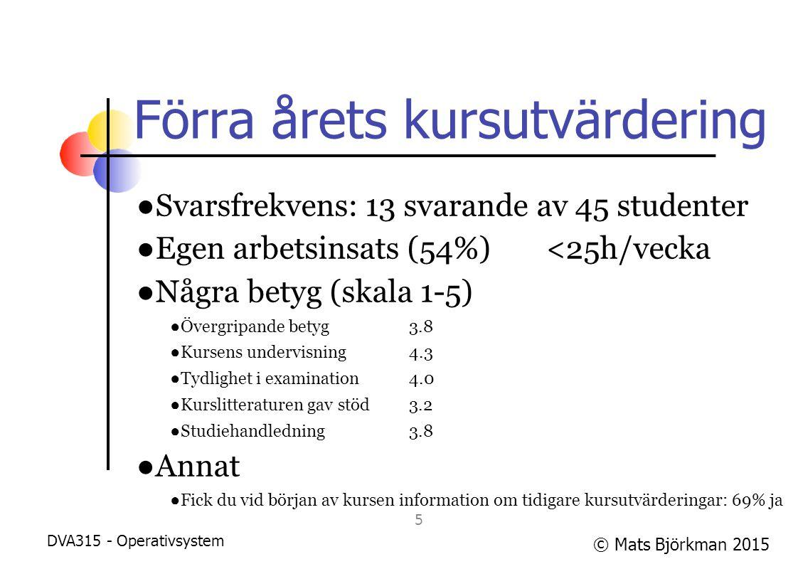 © Mats Björkman 2015 Förra årets kursutvärdering ●Svarsfrekvens: 13 svarande av 45 studenter ●Egen arbetsinsats (54%)<25h/vecka ●Några betyg (skala 1-5) ●Övergripande betyg 3.8 ●Kursens undervisning 4.3 ●Tydlighet i examination4.0 ●Kurslitteraturen gav stöd3.2 ●Studiehandledning3.8 ●Annat ●Fick du vid början av kursen information om tidigare kursutvärderingar: 69% ja DVA315 - Operativsystem 6