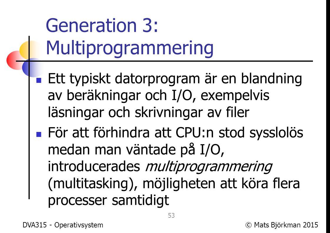 © Mats Björkman 2015 Generation 3: Multiprogrammering Först med multiprogrammering var den brittiska LEO III år 1961 Tanken var följande: Datorn har redan en monitor som håller koll på när processer skall startas eller avslutas Om monitorn kan hålla koll på när en process skall göra I/O, kan en annan process få använda CPU:n samtidigt DVA315 - Operativsystem 54