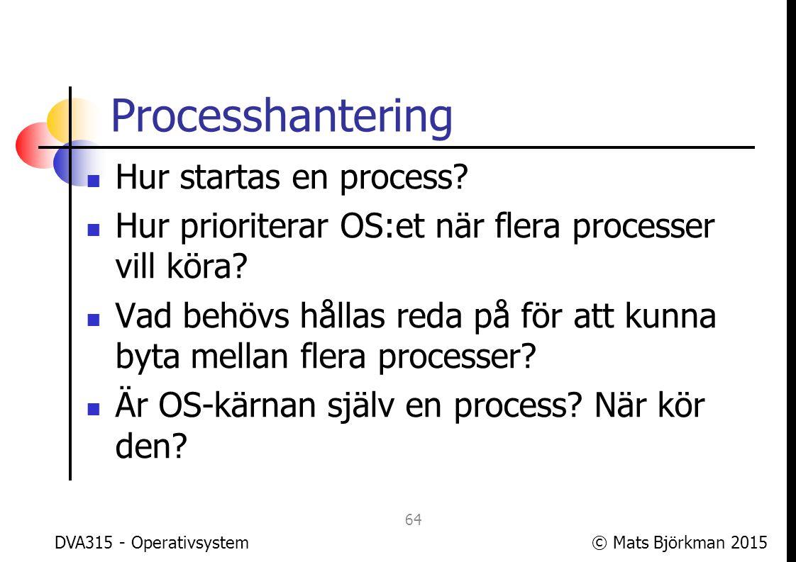 © Mats Björkman 2015 Processhantering Om nu processer är skyddade från varandra, hur kommunicerar processer.
