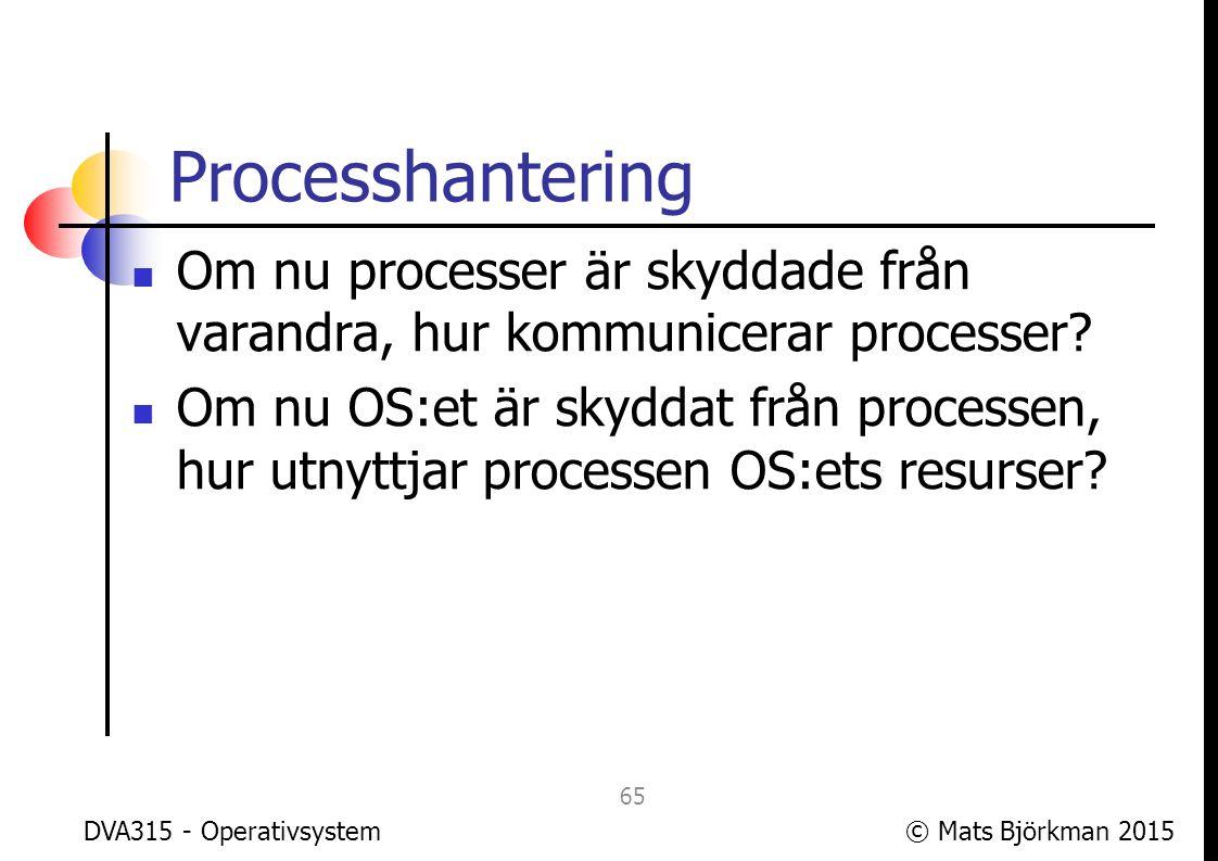 © Mats Björkman 2015 Minneshantering Hur skyddas OS:ets minne från processerna.