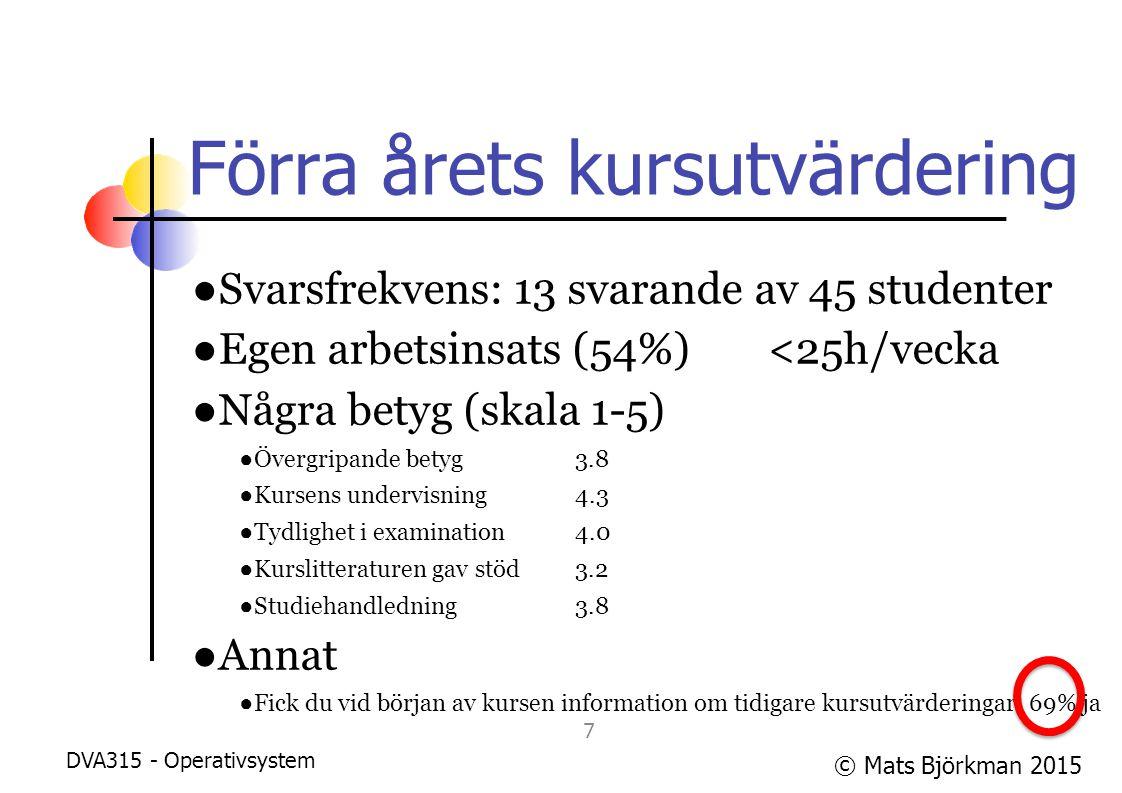 © Mats Björkman 2015 Förra årets kursutvärdering ●Svarsfrekvens: 13 svarande av 45 studenter ●Egen arbetsinsats (54%)<25h/vecka ●Några betyg (skala 1-5) ●Övergripande betyg 3.8 ●Kursens undervisning 4.3 ●Tydlighet i examination4.0 ●Kurslitteraturen gav stöd3.2 ●Studiehandledning3.8 ●Annat ●Fick du vid början av kursen information om tidigare kursutvärderingar: 69% ja DVA315 - Operativsystem 8