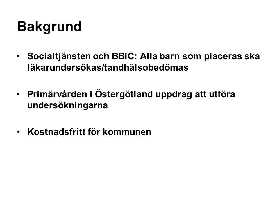 Bakgrund Socialtjänsten och BBiC: Alla barn som placeras ska läkarundersökas/tandhälsobedömas Primärvården i Östergötland uppdrag att utföra undersökn