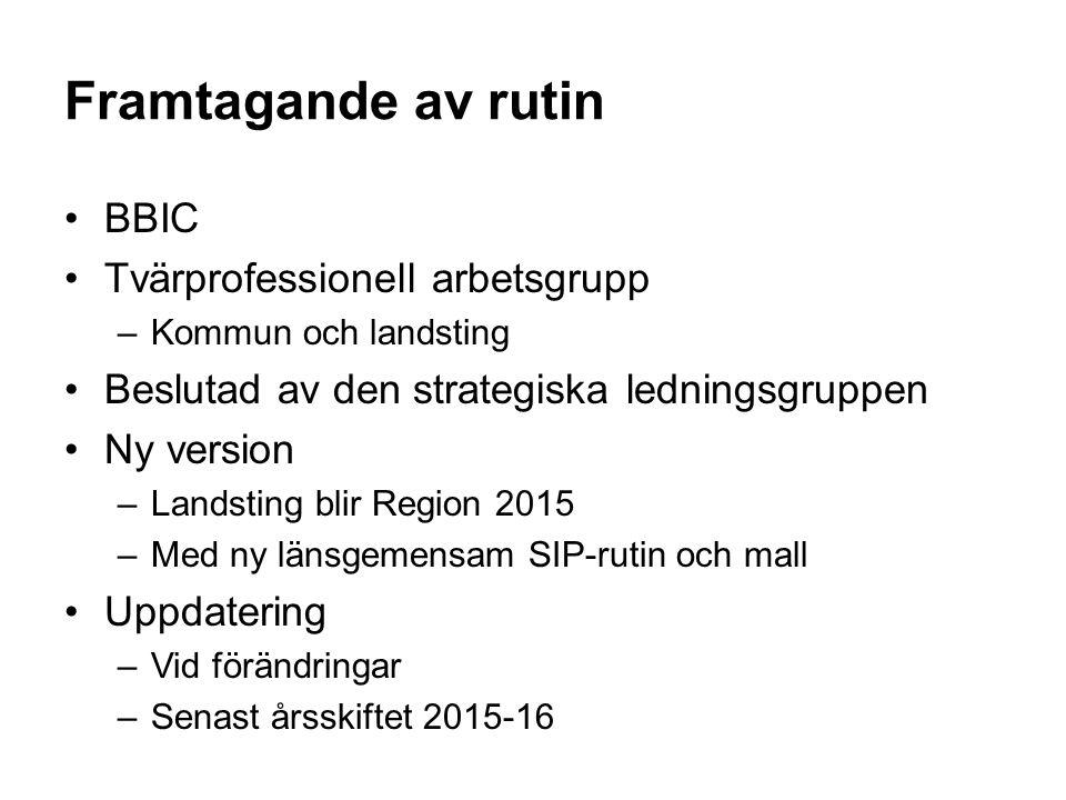 Framtagande av rutin BBIC Tvärprofessionell arbetsgrupp –Kommun och landsting Beslutad av den strategiska ledningsgruppen Ny version –Landsting blir R