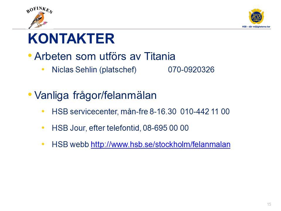 KONTAKTER Arbeten som utförs av Titania Niclas Sehlin (platschef) 070-0920326 Vanliga frågor/felanmälan HSB servicecenter, mån-fre 8-16.30 010-442 11