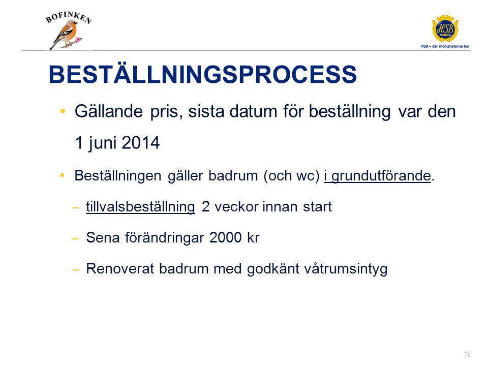BESTÄLLNINGSPROCESS Gällande pris, sista datum för beställning var den 1 juni 2014 Beställningen gäller badrum (och wc) i grundutförande. ‒ tillvalsbe