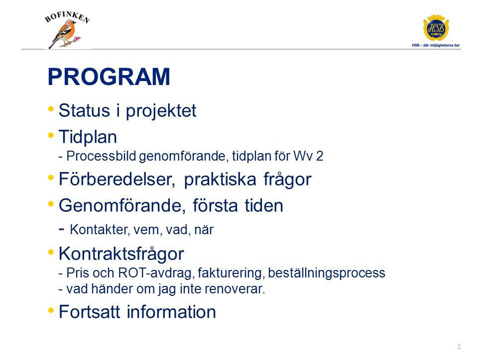 PROGRAM Status i projektet Tidplan - Processbild genomförande, tidplan för Wv 2 Förberedelser, praktiska frågor Genomförande, första tiden - Kontakter