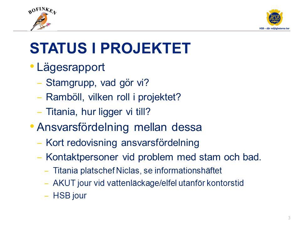 STATUS I PROJEKTET Lägesrapport ‒ Stamgrupp, vad gör vi? ‒ Ramböll, vilken roll i projektet? ‒ Titania, hur ligger vi till? Ansvarsfördelning mellan d