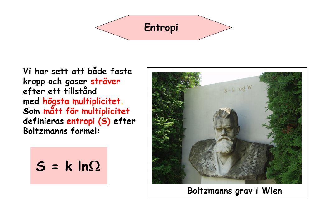 Entropi Vi har sett att både fasta kropp och gaser sträver efter ett tillstånd med högsta multiplicitet. Som mått för multiplicitet definieras entropi